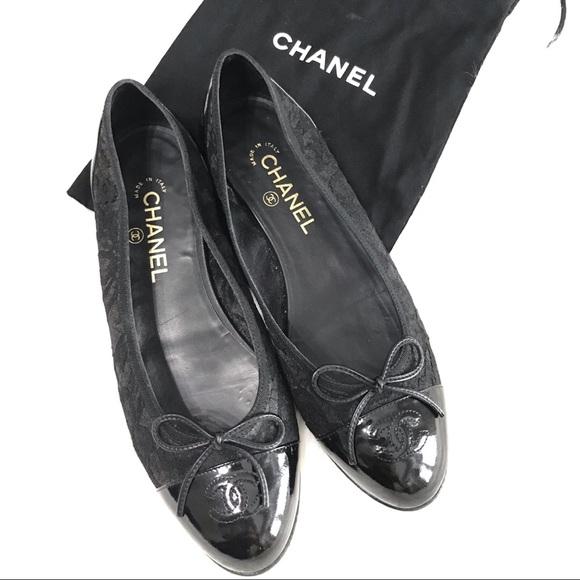 CHANEL Shoes - {CHANEL} Lace Patent Flats (Size 40EUR)